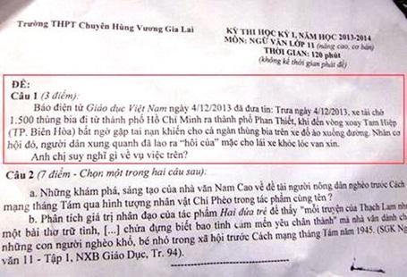Đề thi học kỳ 1 môn ngữ văn lớp 11 đề cập vụ hôi bia.