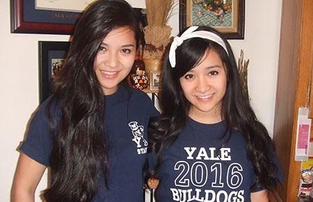 Hai chị em Giáng Quỳnh, Bảo Quyên trong đồng phục của Trường ĐH Yale. (Ảnh do nhân vật cung cấp)