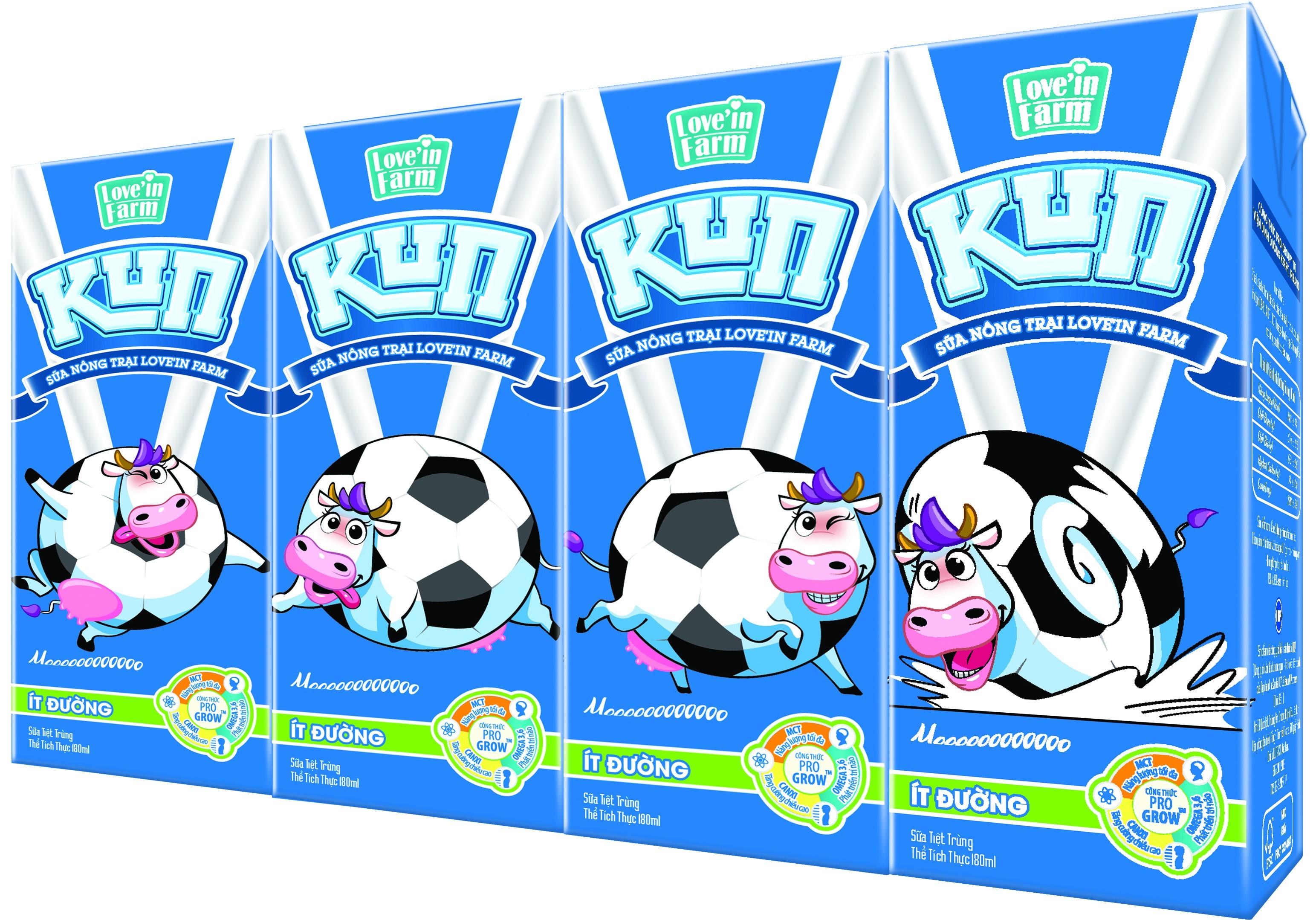Sữa trắng KUN của Love'in Farm có bổ sung công thức dinh dưỡng theo tiêu chuẩn quốc tế