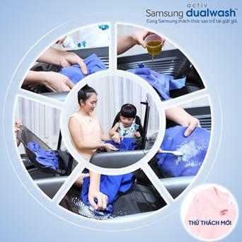 MC Thanh Thảo xử lý vết bẩn dễ dàng ngay tại khay giăt tay của máy giặt Samsung Activ Dualwash