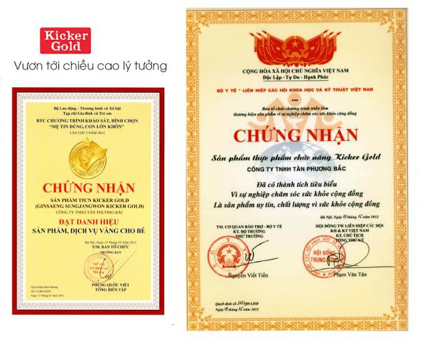 Các chứng nhận của Kicker Gold tại Việt Nam