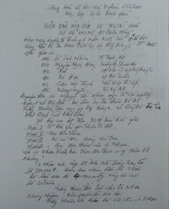 Biên bản hoà giải giữa sư Thích Phước Tấn với cụ Nguyễn Thị Nhan
