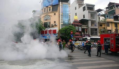 Lực lượng cứu hỏa chuyên nghiệp có mặt tại hiện trường để dập lửa song chiếc xe đã cháy rụi.