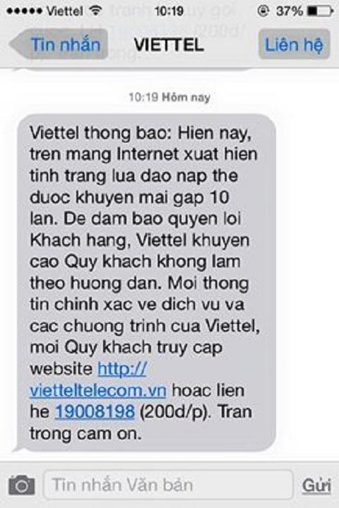 Thông báo của Viettel gửi đến thuê bao di động của khách hàng trong ngày 31/12