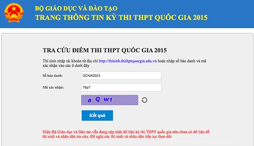 Khoảng 14h15 ngày 22/7, trang xem điểm thi vẫn có thể truy cập được nhưng không thể tra cứu
