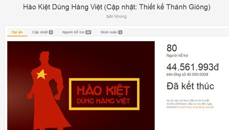 Dự án Hào kiệt dùng hàng Việt dùng hình thức gây quỹ để biến kế hoạch thành hiện thực.