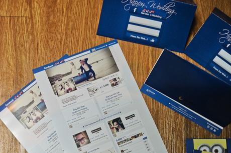 Chiếc thiệp mời cưới mang giao diện trang facebooknhưng được cá nhân hóa thông tin lễ cưới