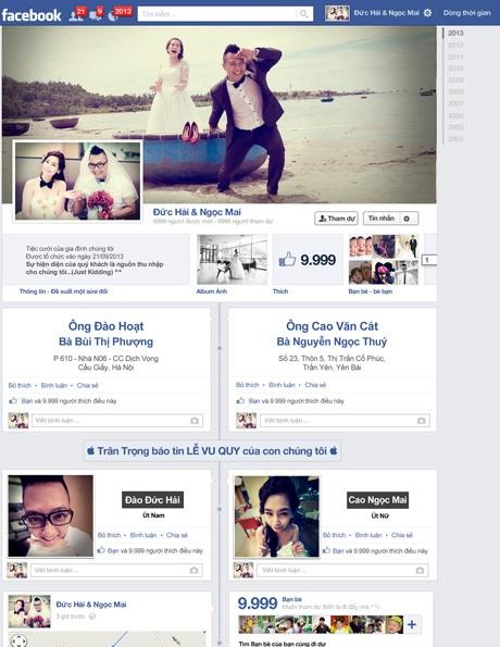 Chiếc thiệp mời cưới mang giao diện trang facebook nhưng được cá nhân hóa thông tin lễ cưới