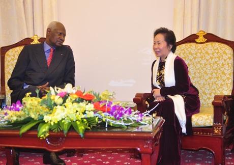 Tổng thư ký Pháp ngữ Abdou Diouf hội kiến với Phó Chủ tịch nước Nguyễn Thị Doan.