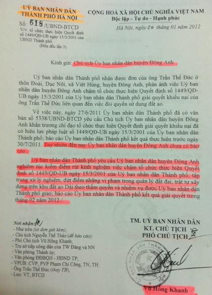Văn bản chỉ đạo của lãnh đạo UBND TP. Hà Nội