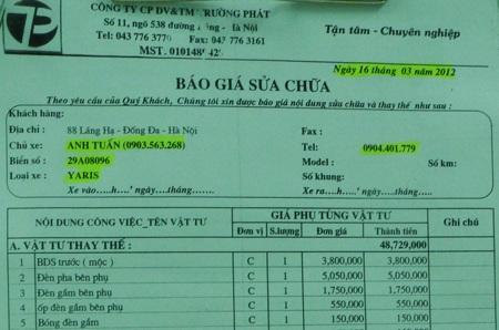 Bảng báo giá sửa chữa xe Yaris biển kiểm soát 29A 080.96 của Công ty Trường Phát