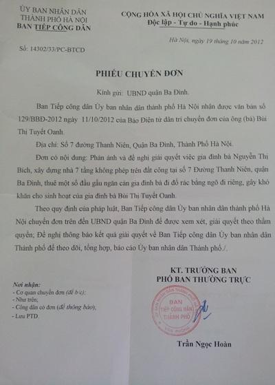 Công văn của UBND TP. Hà Nội gửi quận Ba Đình