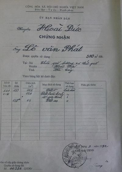 Giấy chứng nhận QSDĐ huyện Hoài Đức cấp năm 1992