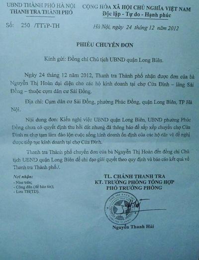 Công văn của Thanh tra Thành phố yêu cầu quận Long Biên xem xét
