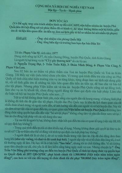 Đơn tố cáo ông Phạm Văn Sỹ gửi đến báo Dân trí ngày 7/1/2013