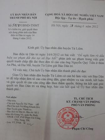 Văn bản chỉ đạo của UBND TP. Hà Nội gửi huyện Từ Liêm