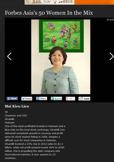 Bà Mai Kiều Liên được Tạp chí Forbes đánhgiá rất cao