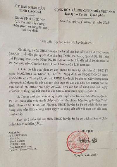 Văn bản của Chủ tịch UBND tỉnh Lào Cai gửi huyện Sa Pa yêu cầu thực hiện nghiêm túc