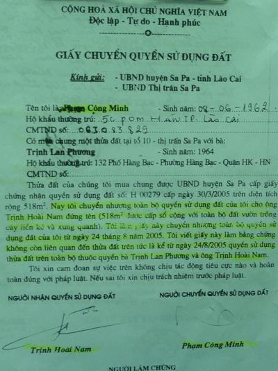 Hợp đồng chuyển nhượng đất giữa ông Nam và ông Minh được UBND thị trấn Sa Pa xác nhận