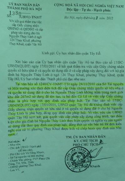 Văn bản chỉ đạo giải quyết của Phó Chủ tịch Vũ Hồng Khanh