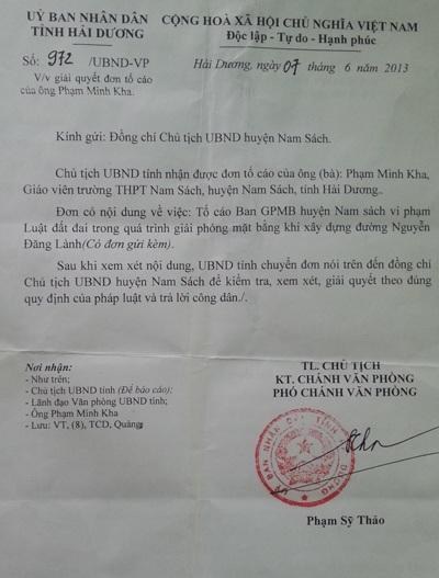 Văn bản chỉ đạo của UBND tỉnh Hải Dương