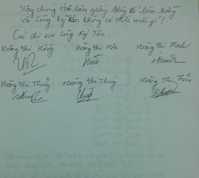 Thỏa thuận trả lại đất cho dòng họ do chị em bà Hồng lập năm 2004