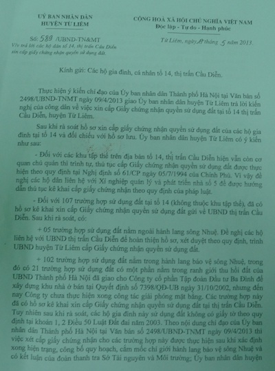 Cho đến lúc này mới chỉcó UBND huyện Từ Liêm có văn bản hồi âm
