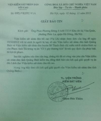 Viện KSND tỉnh Quảng Bình vẫn bỏ ngoài tai các văn bản chỉ đạo