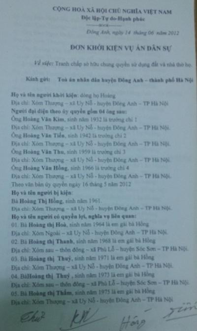 Đơn khởi kiện dòng họ Hoàng gửi ra TAND huyện Đông Anh