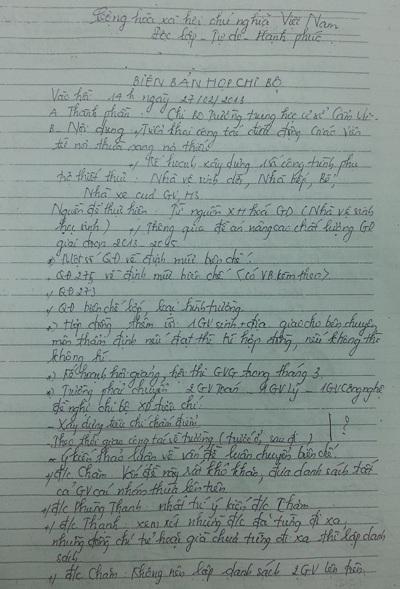 Biên bản cuộc họp Chi bộ có nhiều nội dung chênh với thực tế