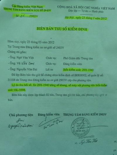 Biên bản thu giữ sổ kiểm định xe ôtô của ông Nguyễn Mạnh Cường
