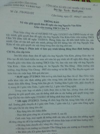 Thông báo của Phòng GD& ĐT đã chỉ ra nhiều khuất tất ở trường THCS Cẩm Vũ