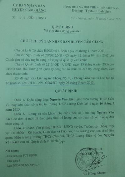 Quyết định điều chuyển công tác do Phó Chủ tịch UBND huyện Cẩm Giàng ký