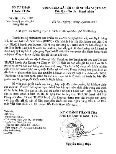 Văn bản yêu cầu dừng việc thi hành án của Thanh tra Bộ Tư pháp