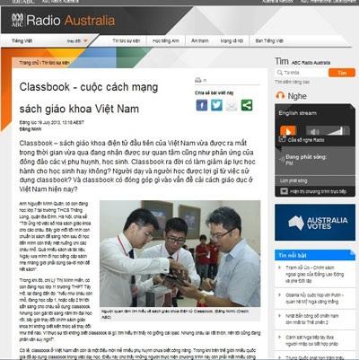 Báo nước ngoài đưa tin về sách giáo khoa điện tử ở Việt Nam