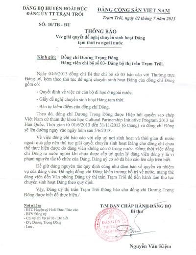 Văn bản của Đảng bộ thị trấn Trạm Trôi ban hành bị tốcó nhiều điểm khuất tất