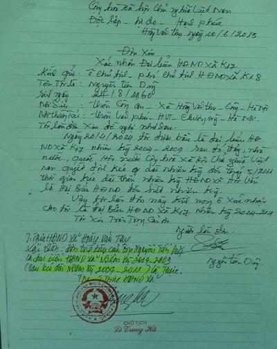 HĐNDxã Hoàng Văn Thụ xác nhận khi bị bắt giam ông Dũng đang là đại biểu Hội đồng nhân dân