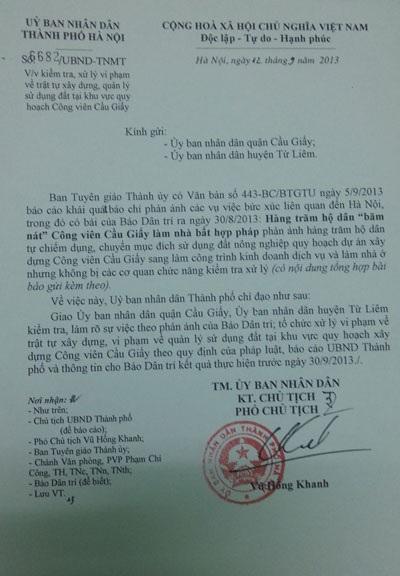 Văn bản chỉ đạo của UBND TP. Hà Nội
