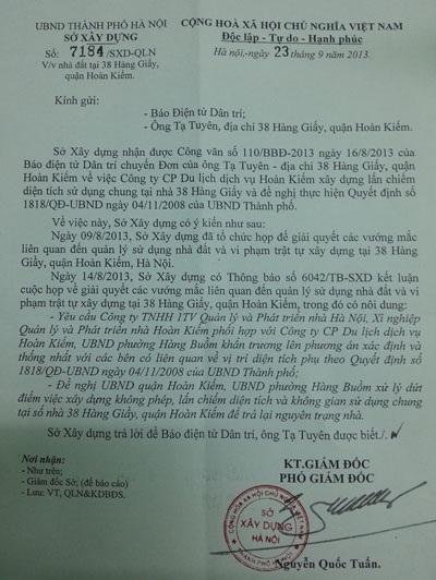 Văn bản hồi âm của Sở Xây dựng TP. Hà Nội gửi báo Dân trí
