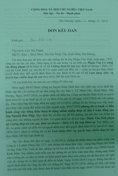 Đơn kêu oan ông Phạm Văn Tình gửi đến báo Dân trí