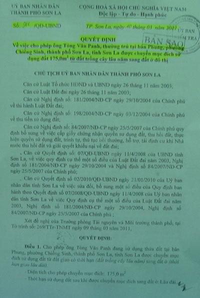 Quyết định của UBND TP Sơn La chấp thuận cho ông Phanh chuyển đổi mục đích sử dụng 175m2 đất