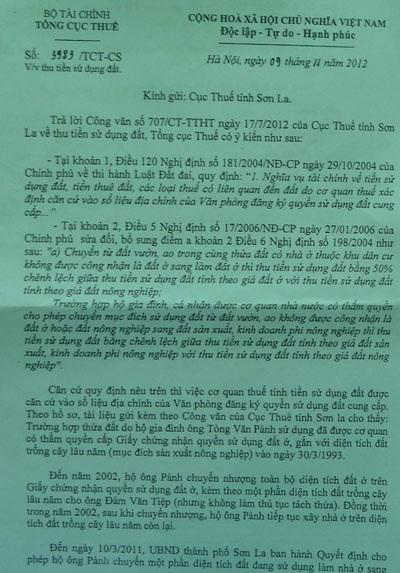 Tổng Cục thuế hướng dẫn ông Phanh nộp thuế theo khung đất ở