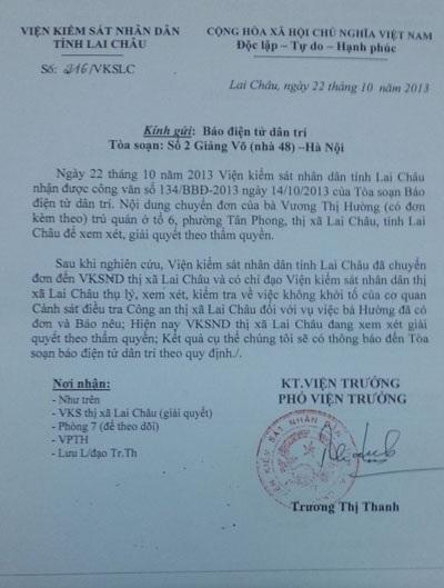 Văn bản của Viện KSND tỉnh Lai Châu gửi tòa soạn báo Dân trí