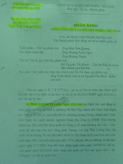 Bản án sơ thẩm của TAND TP Hà Nội