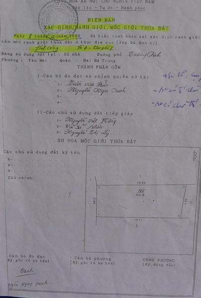 UBND phường Tân Mai không đưa ra được hồ sơ chứng minh diện tích mà
