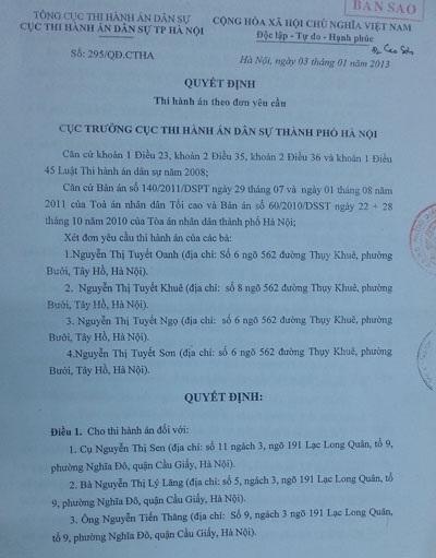 Quyết định thi hành bản án ký tháng 1/2013 vẫn nằm trên bàn