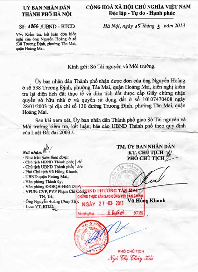 Văn bản chỉđạocủa UBND TP Hà Nội vẫn chưa được thực thi