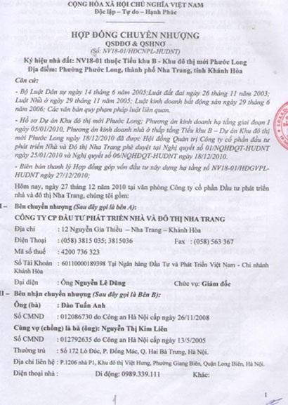 Ông Tuấn Anh và nhiều khách hàng cho rằng HUD Nha Trang đã đánh tráo hợp đồng