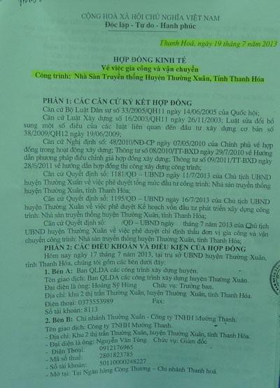 Hợp đồng gốc Công ty Mường Thanh ký với Ban QLDA huyện Thường Xuân