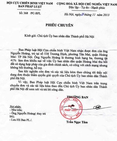 Hội Cựu chiến binh đề nghị xem xét, giải quyết quyền lợi cho ông Nguyễn Hoàng